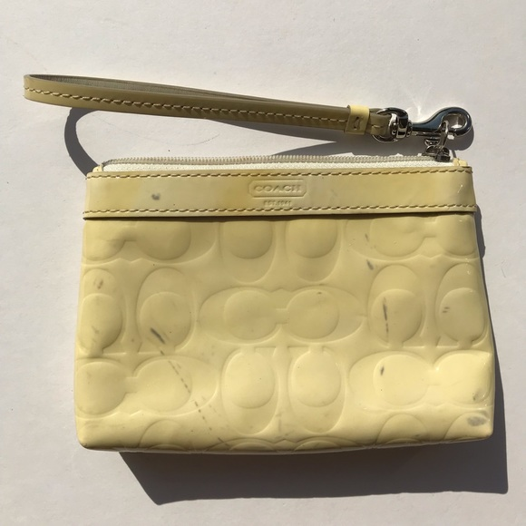 Coach Handbags - Coach Yellow and Blue Patent Leather Wristlet